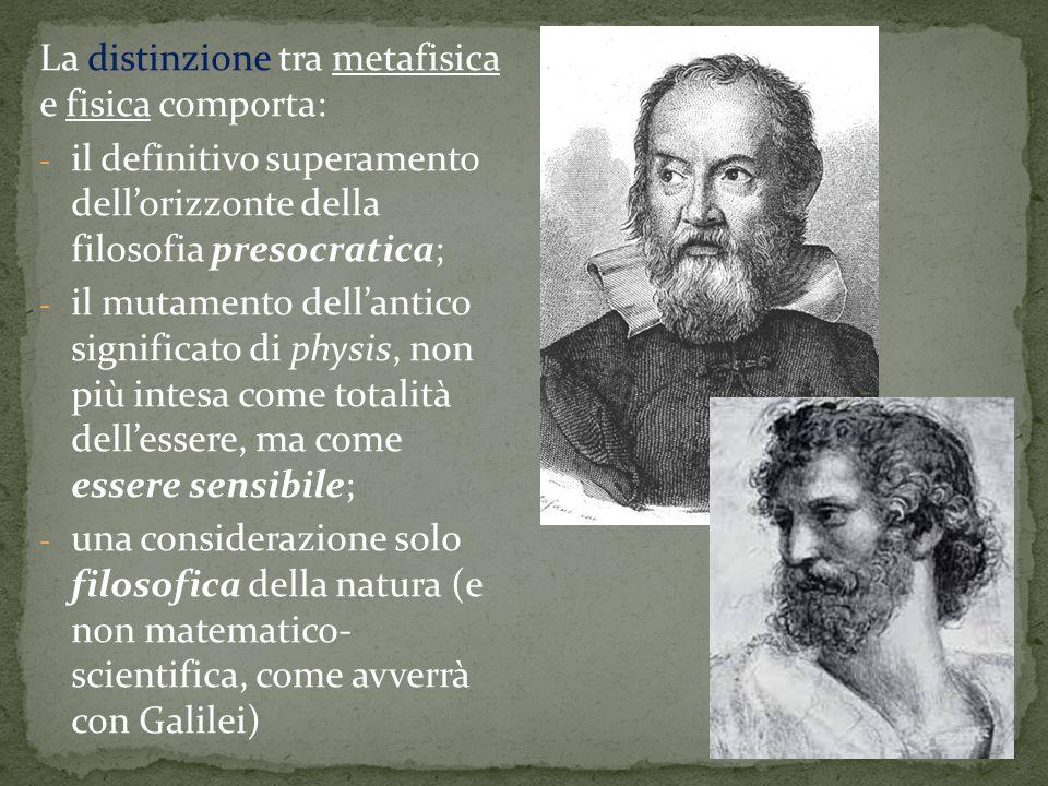 La distinzione tra metafisica e fisica comporta:
