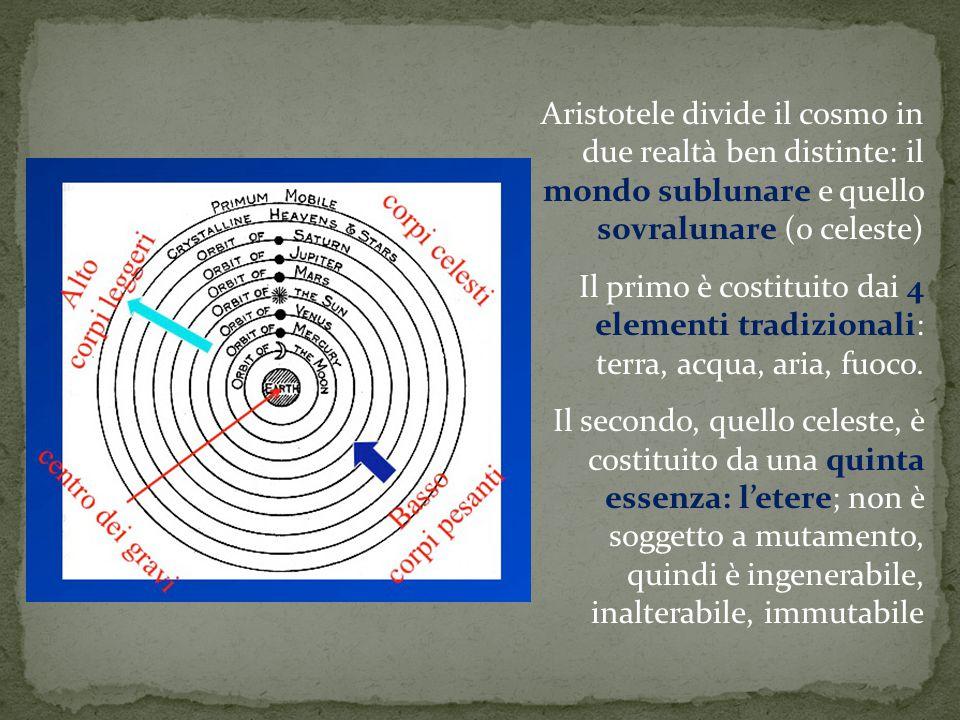 Aristotele divide il cosmo in due realtà ben distinte: il mondo sublunare e quello sovralunare (o celeste)