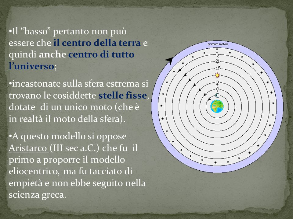 Il basso pertanto non può essere che il centro della terra e quindi anche centro di tutto l'universo;