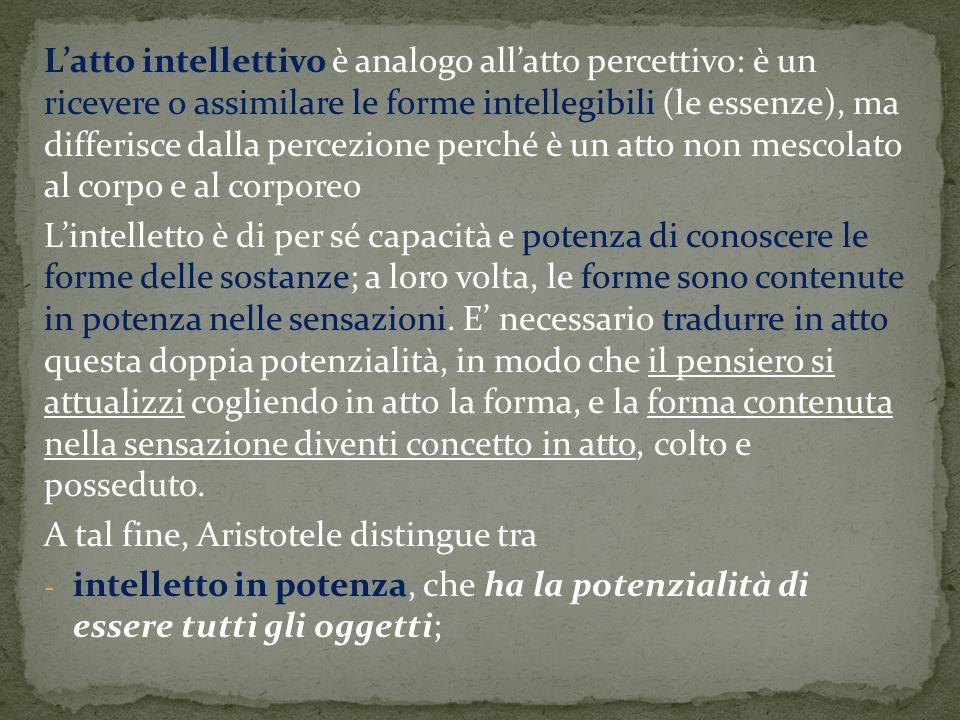 L'atto intellettivo è analogo all'atto percettivo: è un ricevere o assimilare le forme intellegibili (le essenze), ma differisce dalla percezione perché è un atto non mescolato al corpo e al corporeo