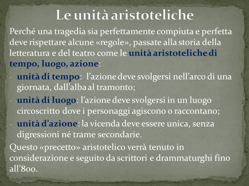 Le unità aristoteliche