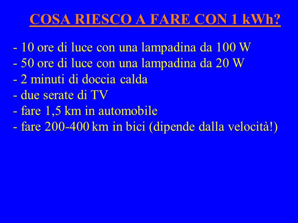 COSA RIESCO A FARE CON 1 kWh
