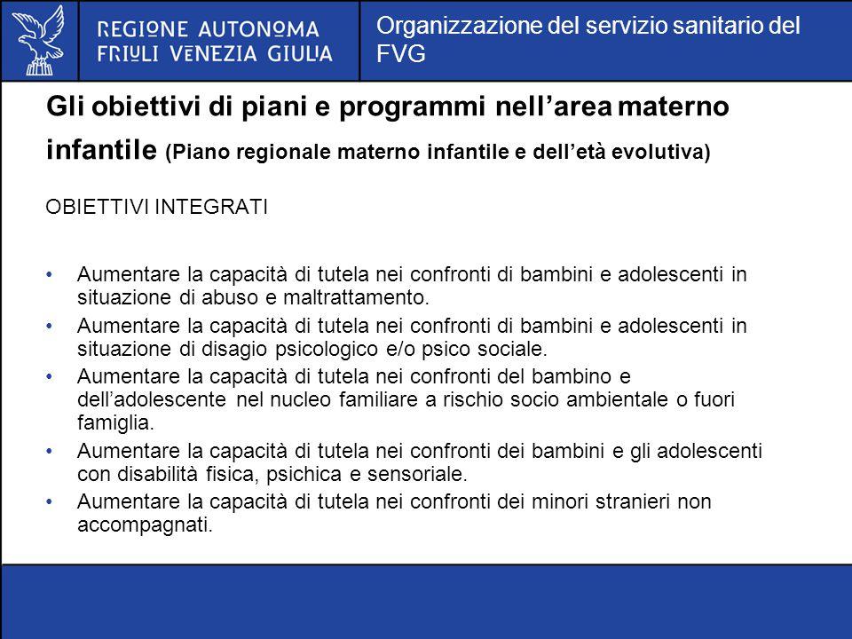 Gli obiettivi di piani e programmi nell'area materno infantile (Piano regionale materno infantile e dell'età evolutiva)