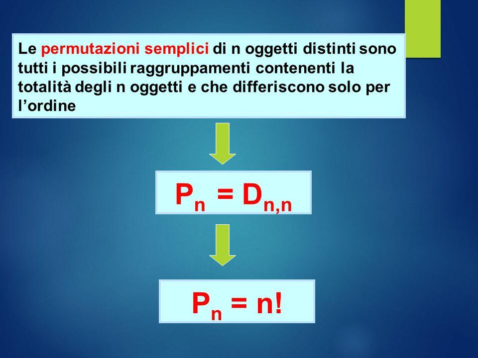 Le permutazioni semplici di n oggetti distinti sono tutti i possibili raggruppamenti contenenti la totalità degli n oggetti e che differiscono solo per l'ordine