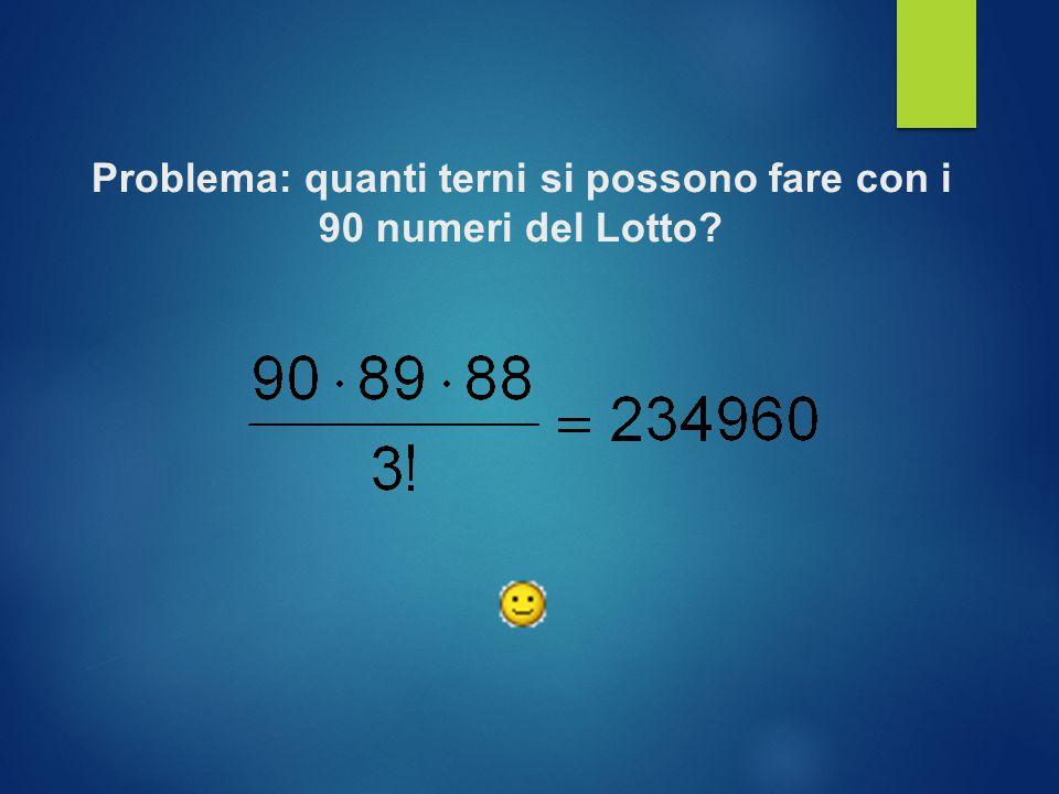 Problema: quanti terni si possono fare con i 90 numeri del Lotto