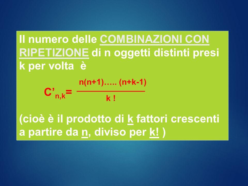 Il numero delle COMBINAZIONI CON RIPETIZIONE di n oggetti distinti presi k per volta è
