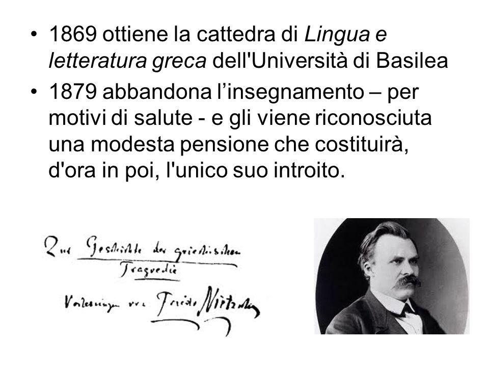 1869 ottiene la cattedra di Lingua e letteratura greca dell Università di Basilea