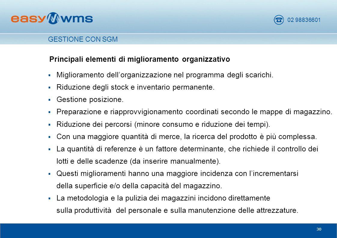 Principali elementi di miglioramento organizzativo