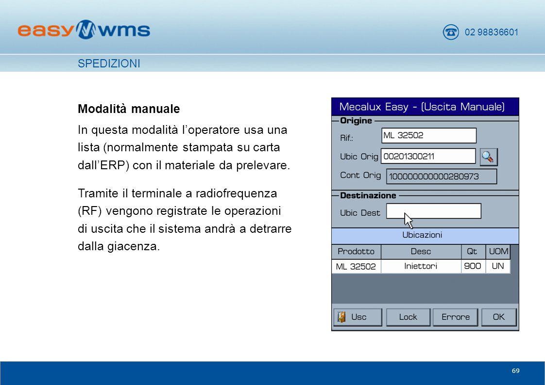 SPEDIZIONI Modalità manuale. In questa modalità l'operatore usa una lista (normalmente stampata su carta dall'ERP) con il materiale da prelevare.