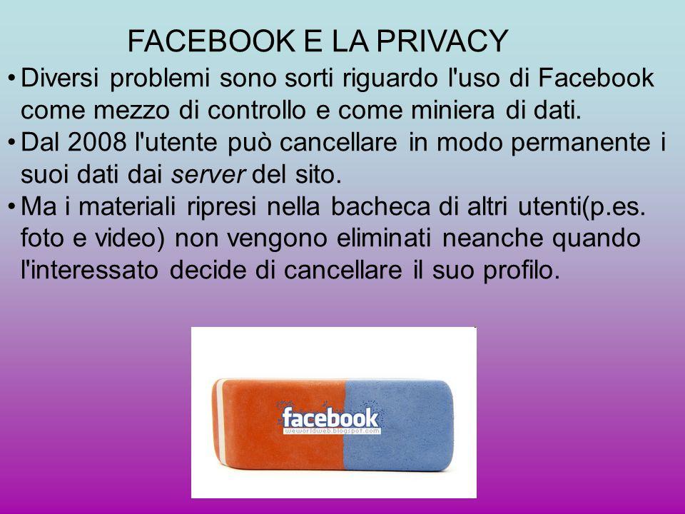 FACEBOOK E LA PRIVACY Diversi problemi sono sorti riguardo l uso di Facebook come mezzo di controllo e come miniera di dati.