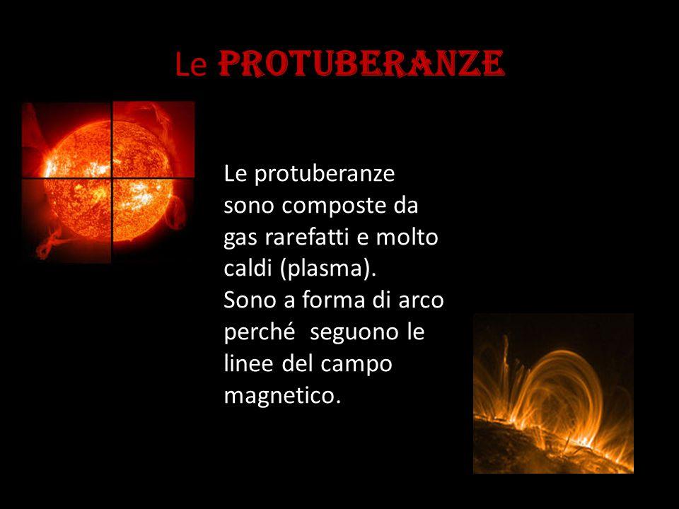 Le PROTUBERANZE Le protuberanze sono composte da gas rarefatti e molto caldi (plasma).