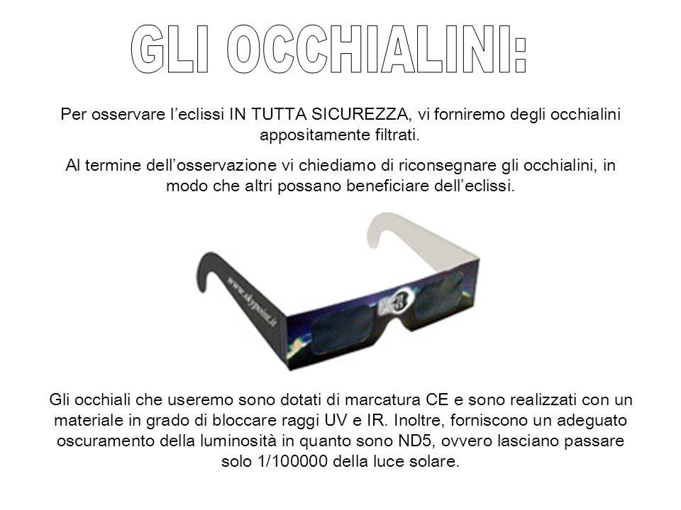 GLI OCCHIALINI: Per osservare l'eclissi IN TUTTA SICUREZZA, vi forniremo degli occhialini appositamente filtrati.