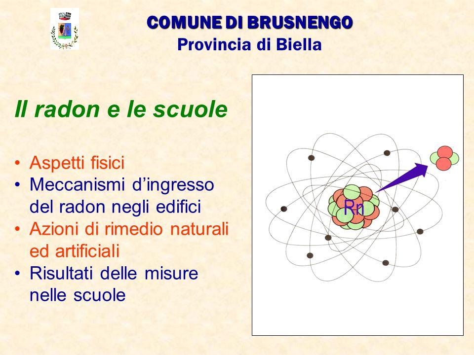 Il radon e le scuole COMUNE DI BRUSNENGO Provincia di Biella