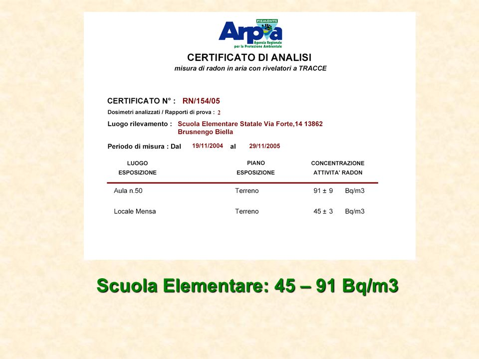 Scuola Elementare: 45 – 91 Bq/m3