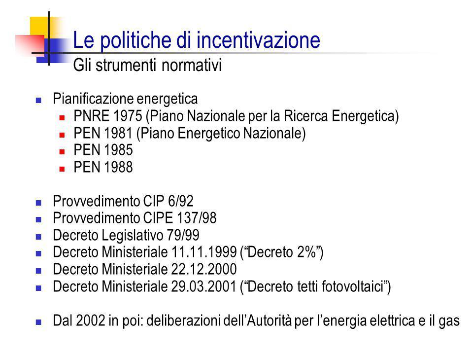 Le politiche di incentivazione Gli strumenti normativi