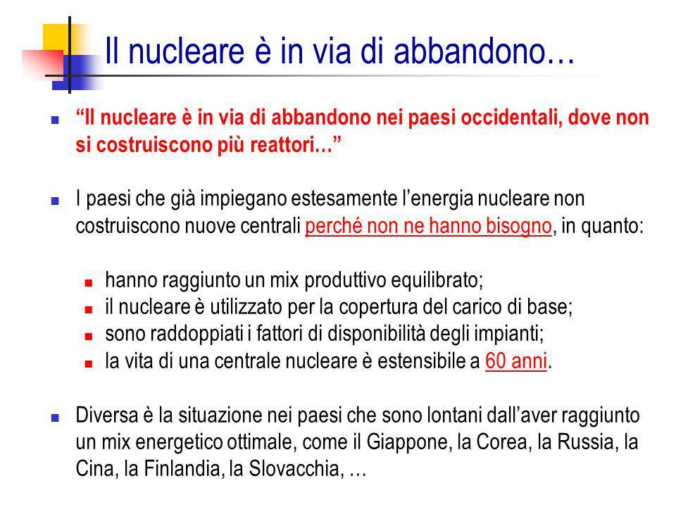 Il nucleare è in via di abbandono…