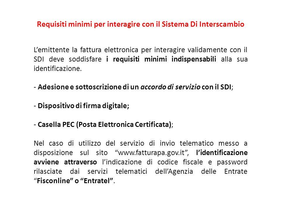 Requisiti minimi per interagire con il Sistema Di Interscambio