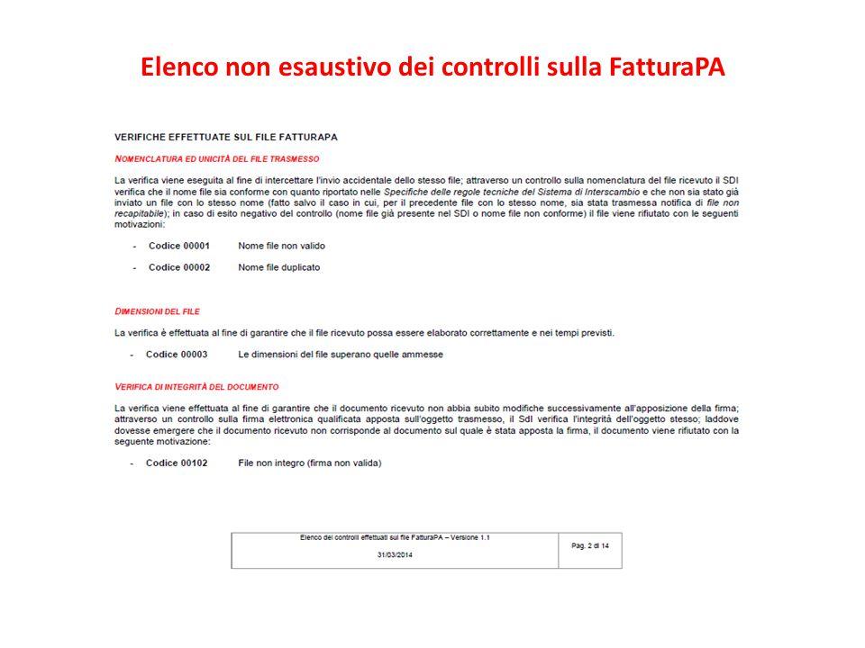 Elenco non esaustivo dei controlli sulla FatturaPA