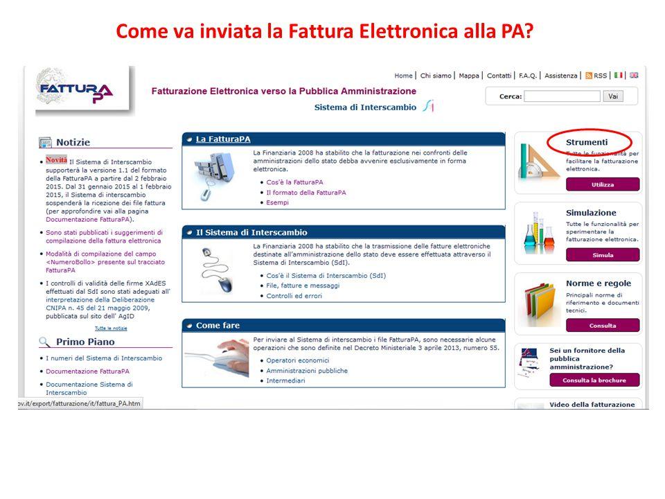 Come va inviata la Fattura Elettronica alla PA