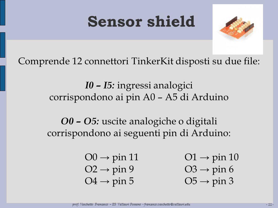 Sensor shield Comprende 12 connettori TinkerKit disposti su due file: