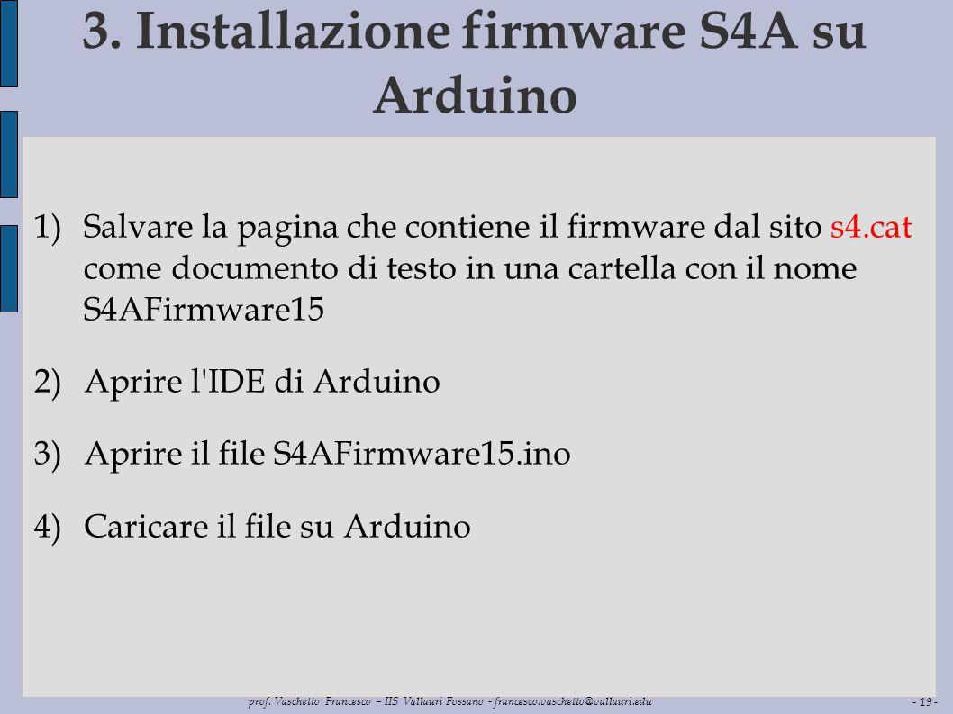 3. Installazione firmware S4A su Arduino