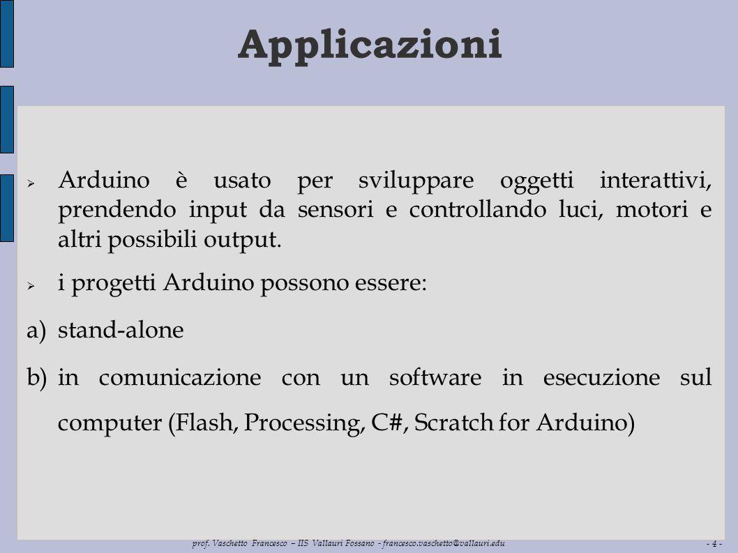 Applicazioni Arduino è usato per sviluppare oggetti interattivi, prendendo input da sensori e controllando luci, motori e altri possibili output.