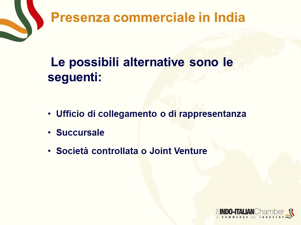 Presenza commerciale in India