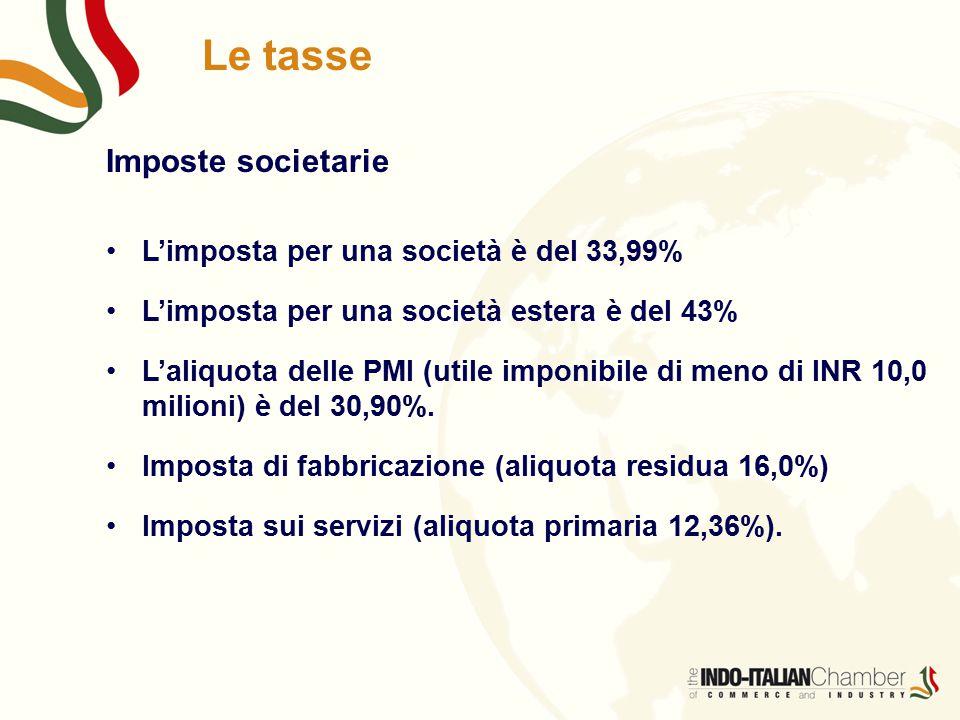 Le tasse Imposte societarie L'imposta per una società è del 33,99%