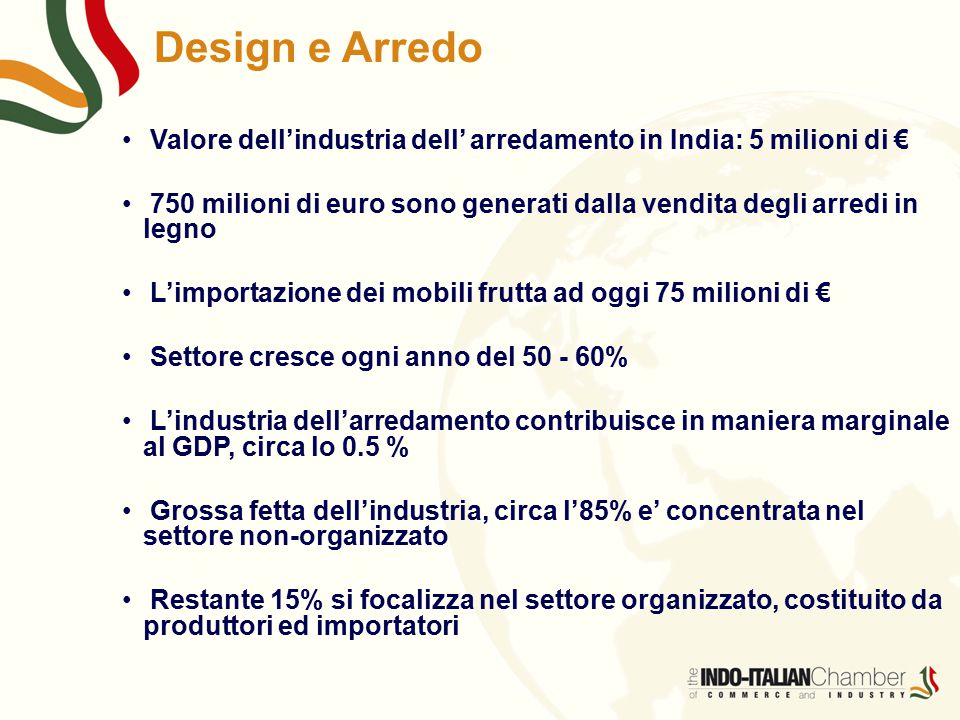 Design e Arredo Valore dell'industria dell' arredamento in India: 5 milioni di €