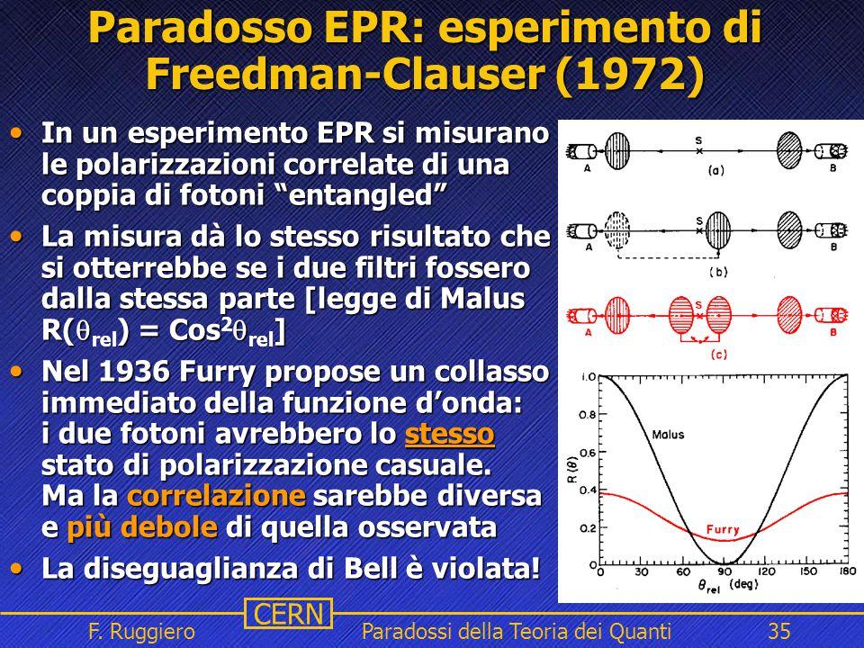 Paradosso EPR: esperimento di Freedman-Clauser (1972)