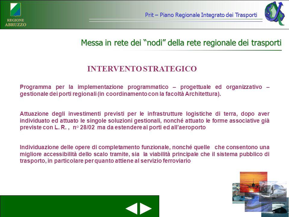 Messa in rete dei nodi della rete regionale dei trasporti