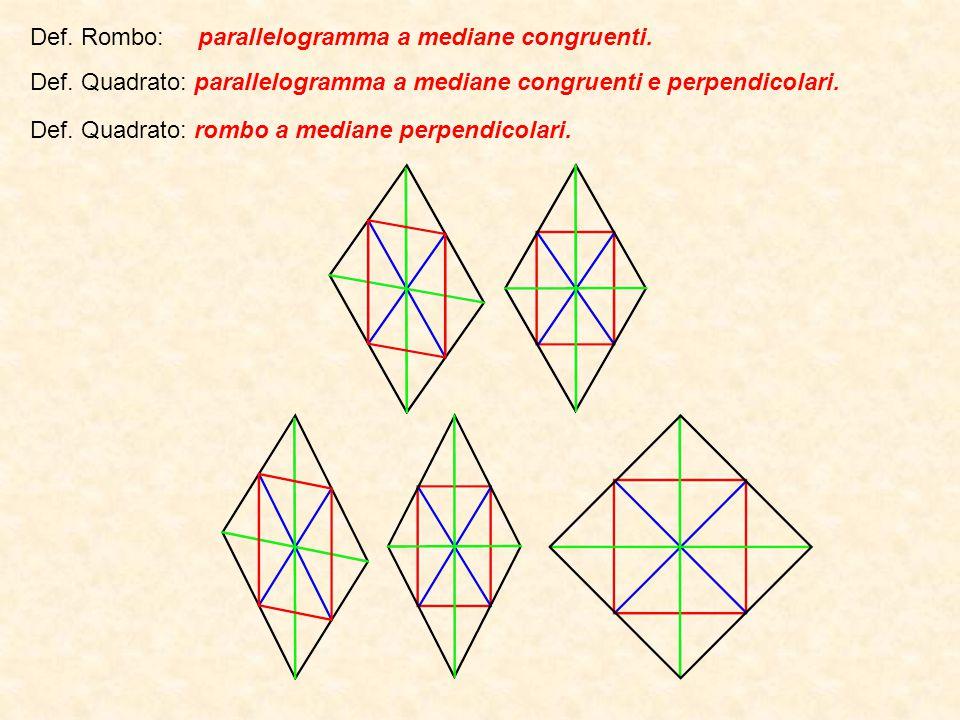Def. Rombo: parallelogramma a mediane congruenti.