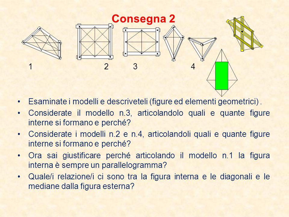 Consegna 2 1 2 3 4. Esaminate i modelli e descriveteli (figure ed elementi geometrici) .