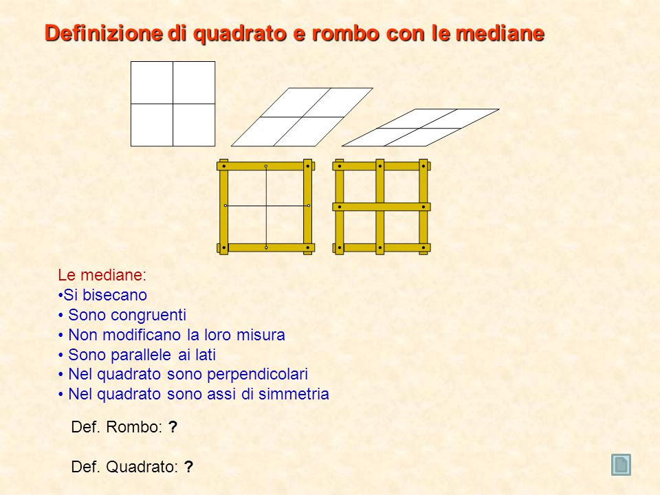 Definizione di quadrato e rombo con le mediane
