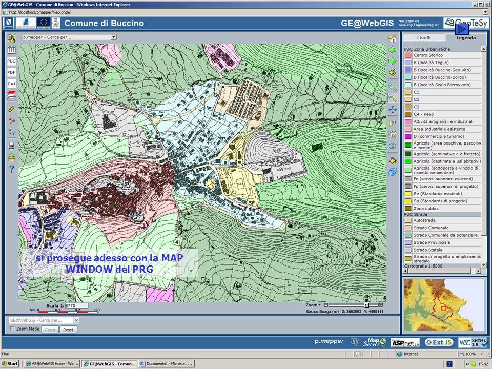 si prosegue adesso con la MAP WINDOW del PRG