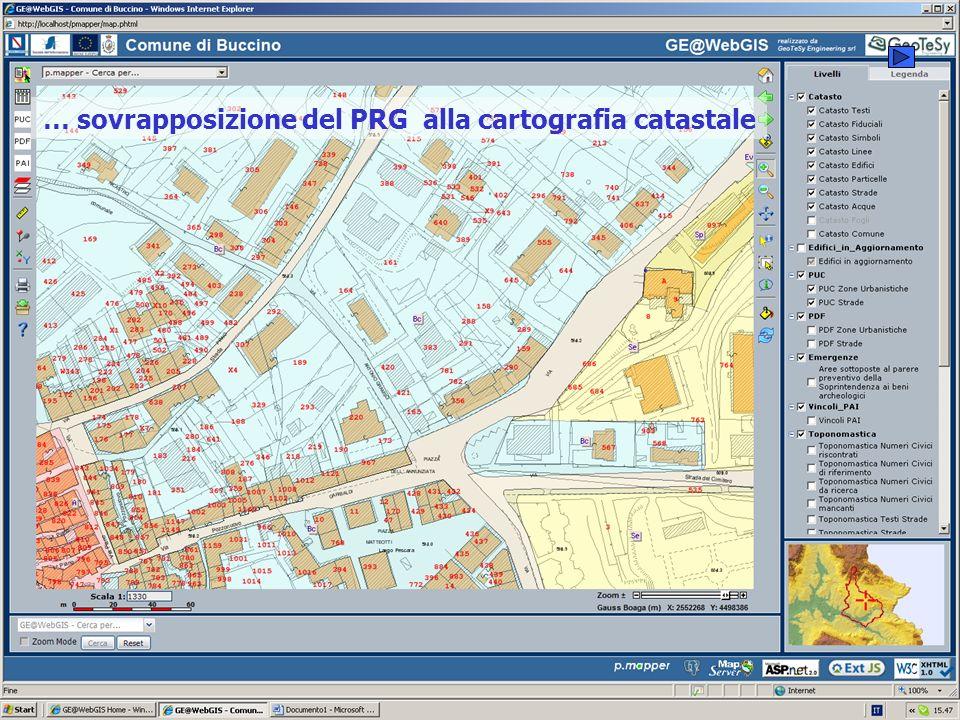 … sovrapposizione del PRG alla cartografia catastale