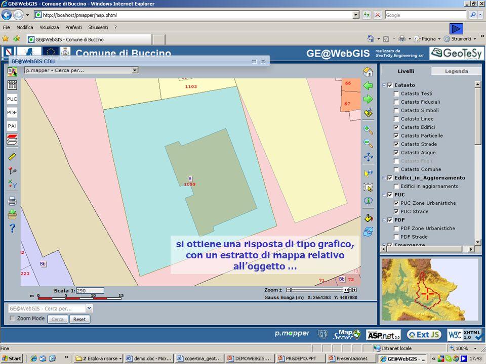 si ottiene una risposta di tipo grafico, con un estratto di mappa relativo all'oggetto …
