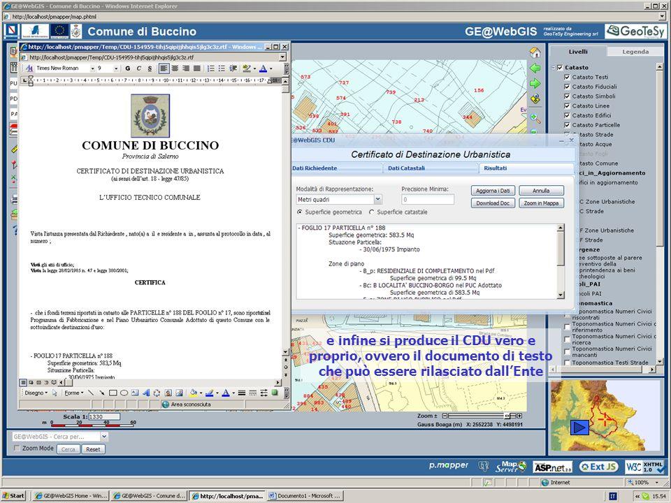 e infine si produce il CDU vero e proprio, ovvero il documento di testo che può essere rilasciato dall'Ente