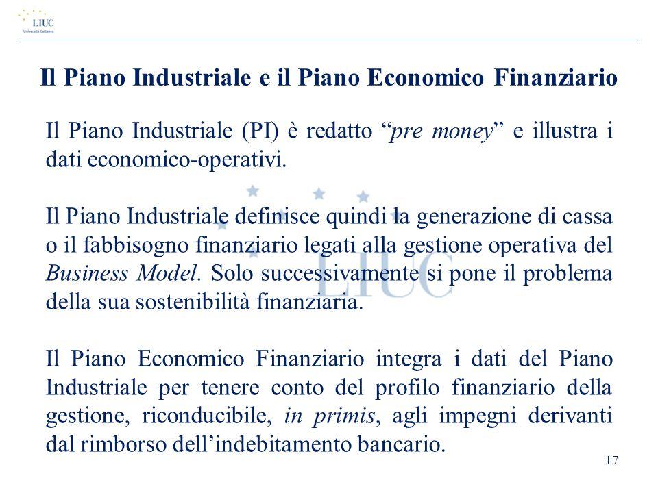 Il Piano Industriale e il Piano Economico Finanziario