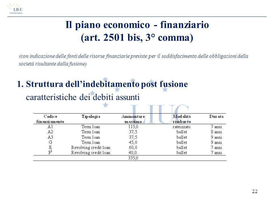 Il piano economico - finanziario (art. 2501 bis, 3° comma)