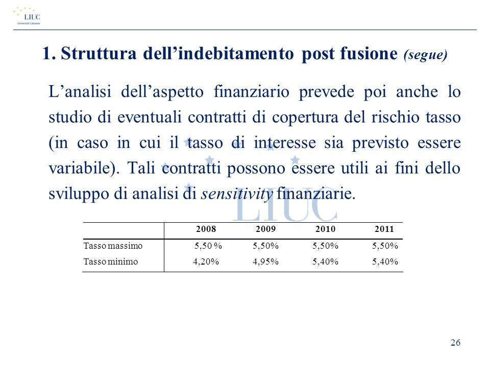 1. Struttura dell'indebitamento post fusione (segue)