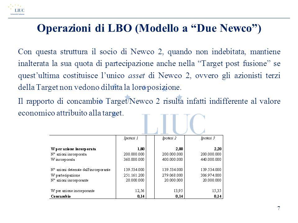 Operazioni di LBO (Modello a Due Newco )