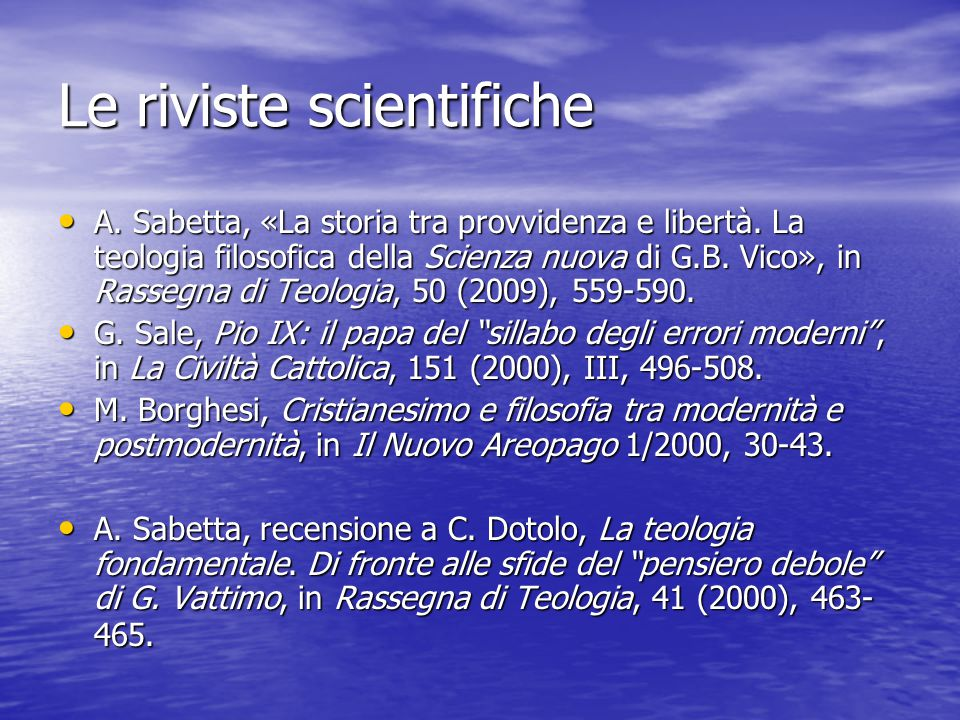 Le riviste scientifiche