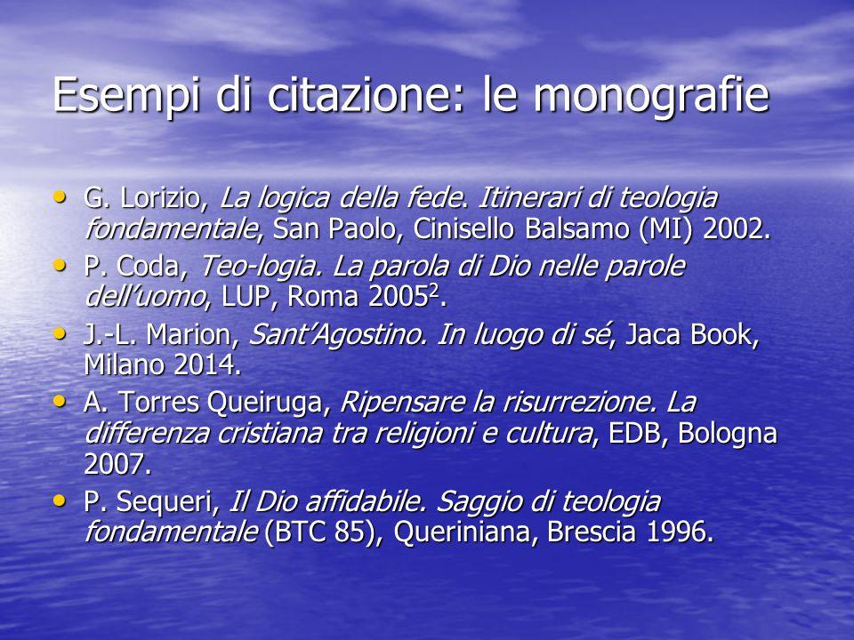 Esempi di citazione: le monografie