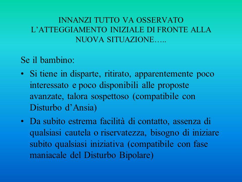INNANZI TUTTO VA OSSERVATO L'ATTEGGIAMENTO INIZIALE DI FRONTE ALLA NUOVA SITUAZIONE…..