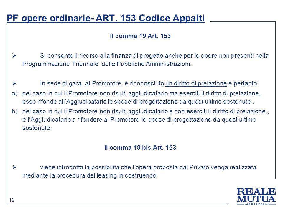PF opere ordinarie- ART. 153 Codice Appalti