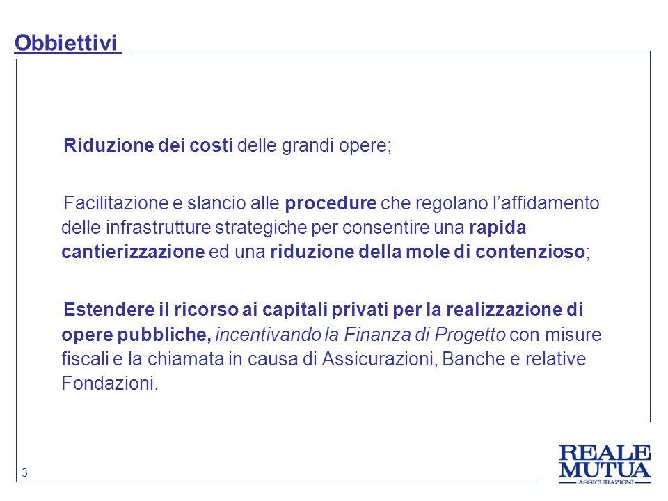 Obbiettivi Riduzione dei costi delle grandi opere;
