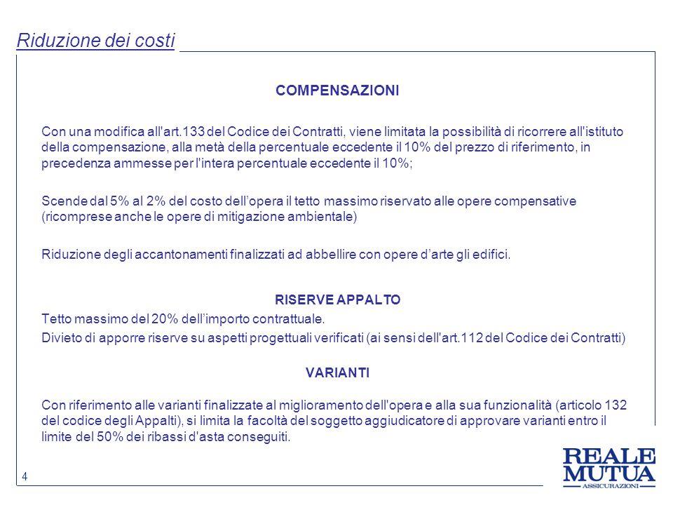 Riduzione dei costi COMPENSAZIONI
