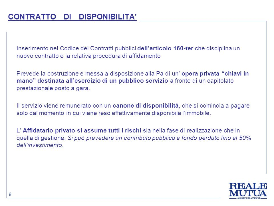 CONTRATTO DI DISPONIBILITA'