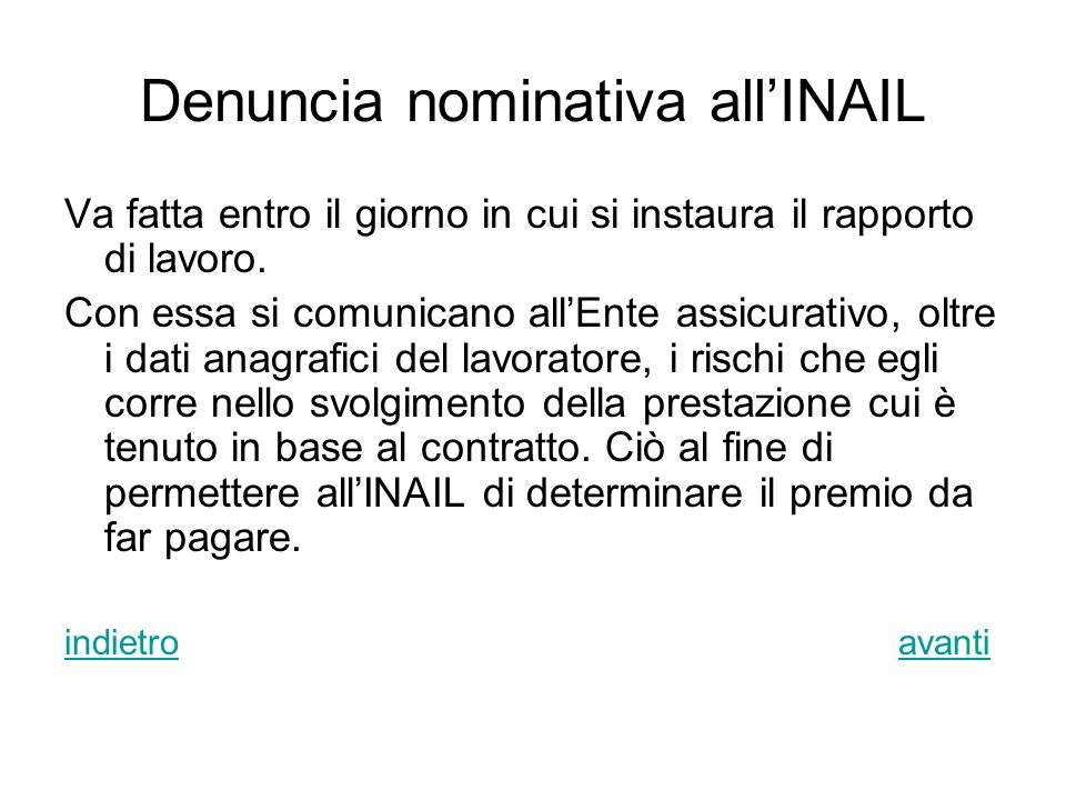 Denuncia nominativa all'INAIL